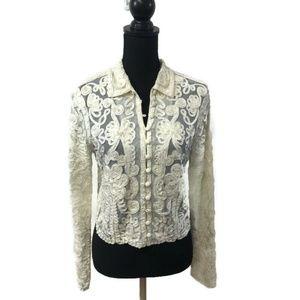 Vintage White Soutache Button Down Jacket Large